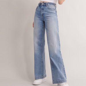 Garage wide leg light wash high waisted jeans